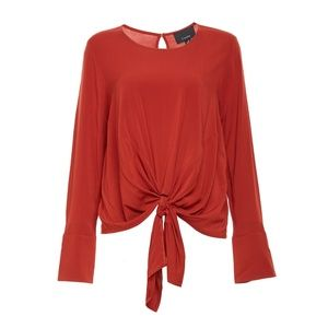 Lumiere Front Tie Top - Rust Color